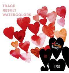 Watercolor hearts vector
