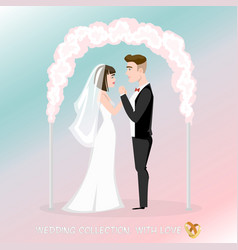 Groom with bride under the wedding arch vector