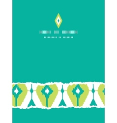 Emerald green ikat diamonds vertical torn seamless vector