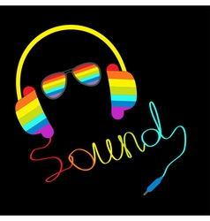 Rainbow headphones cord word sound sunglasses vector