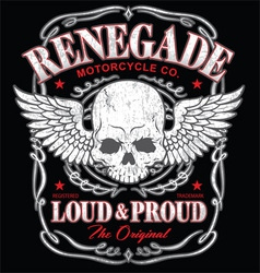 Renegade winged skull graphic vector image