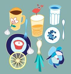 Graphic set of different food and drink on a light vector