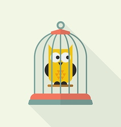 Owl in bird cage vector