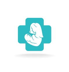 Mother and child logo with medical cross vector
