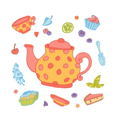 A set of party objects for tea time vector image vector image