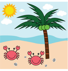 Beach crab and coconut trees vector