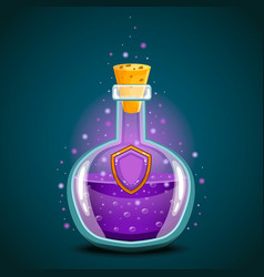 Bottle of magic elixir with shield vector