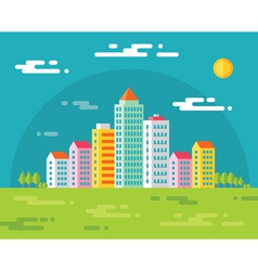 Buildings in city - flat vector