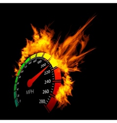 Burning speedometer vector image vector image
