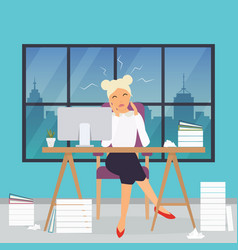 Business woman working at his office desk stress vector