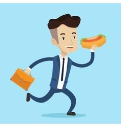 Businessman eating hot dog vector