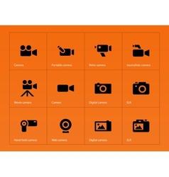 Camera icons on orange background vector