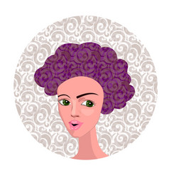 cartoon girl with curly vector image