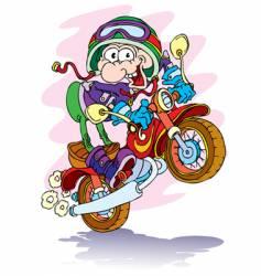 cartoon motorcyclist vector image vector image
