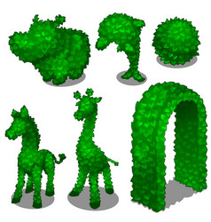 Carved from leafy bushes animals and gates vector