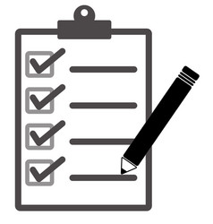 checklist and pencil icon on white background vector image vector image