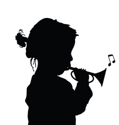 Child with trumpet silhouette vector