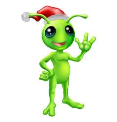 christmas alien vector image vector image