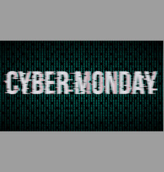 cyber monday glitch effect label vector image vector image