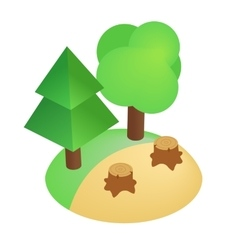 Deforestation icon isometric 3d style vector