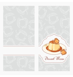 Dessert menu template design for cafe vector image