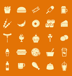 Fast food color icons on orange background vector