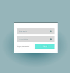 Flat color login form ui template in white vector