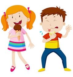 Girl eating icecream and boy eating lemon vector