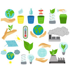 Global warming icons ecological environment vector