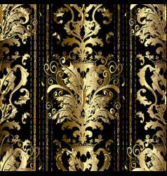 gold baroque striped seamless pattern luxury vector image