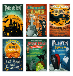 Halloween holiday retro poster for party design vector