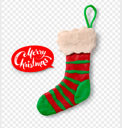 Hand made plasticine figure of christmas sock vector