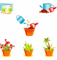 icons on growing window plants vector image vector image