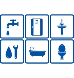 icons with isolated bath objects vector image