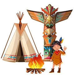 Indian girl and tepee by the campfire vector