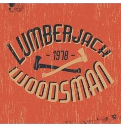 Lumberjack woodsman stamp vector image vector image