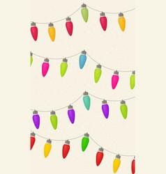 merry christmas card with christmas lights and vector image