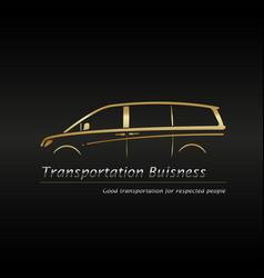 Modern gold minivan in black background vector