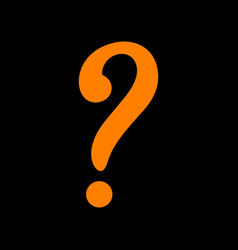Question mark sign orange icon on black vector