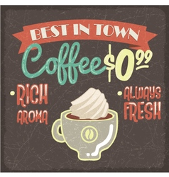 Retro styled grunge poster with fresh coffee vector image