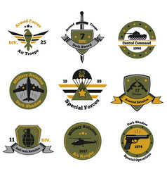 Service insignia emblem collection vector