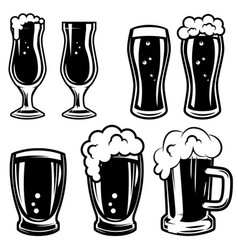 set of beer mugs design elements for logo label vector image