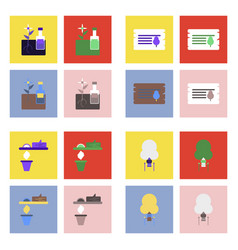 Set of ecology icons on color backgrounds square vector