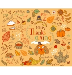 Thanksgiving design elements vector image vector image