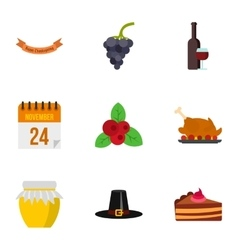 Thanksgiving feast icons set flat style vector