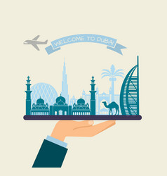 Welcome to dubai attractions of uae on a tray vector