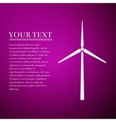 Wind generator flat icon on purple background vector
