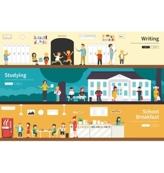 Writing Studying School Breakfast flat interior vector image