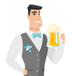 Young caucasian groom drinking beer vector