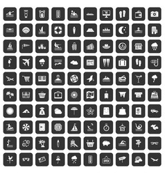 100 seaside resort icons set black vector